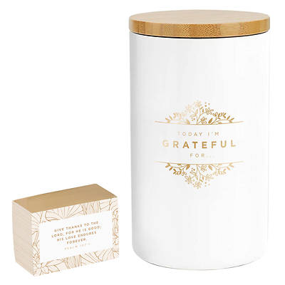 Picture of Gratitude Jar with Cards Today I'm Grateful for White/Gold