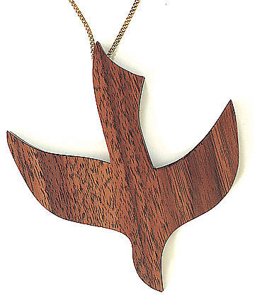 "Pendant Walnut Dove 4 1/2"" with 18"" Goldtone Chain (Disciples of Christ)"
