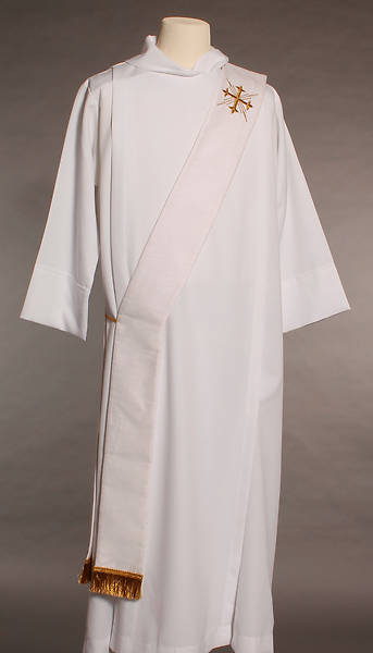 Picture of MDS White Greek Cross Deacon Stole
