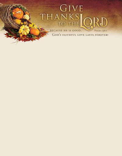 Picture of Give Thanks to the Lord Psalm 136:1 Letterhead