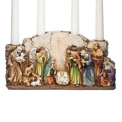 Nativity Scene With Wall Advent Candle Holder 10.5""