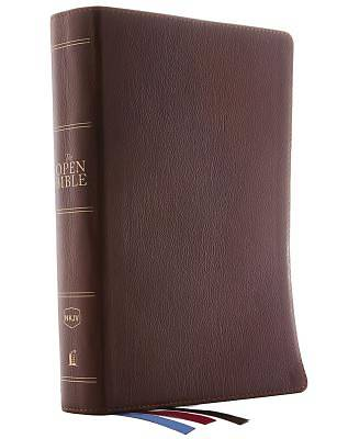 The NKJV, Open Bible, Genuine Leather, Brown, Red Letter Edition, Comfort Print