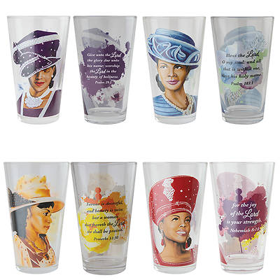 Ladies With Hats Drinking Glass (Set of 4)