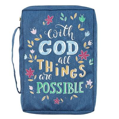Picture of Bible Cover Canvas Large Navy with God All Things Matt 19