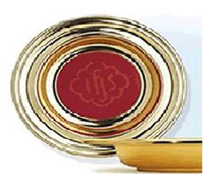 Brasstone Offering Plate with Red IHS Mat