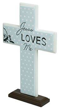 Jesus Loves Me Blue Wooden Cross