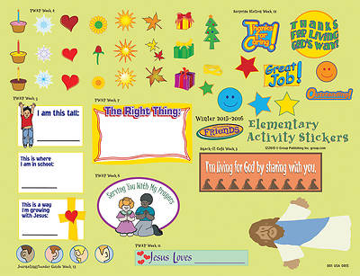 Picture of FaithWeaver Friends Elementary Activity Stickers (Package of 5) Winter 2015-16