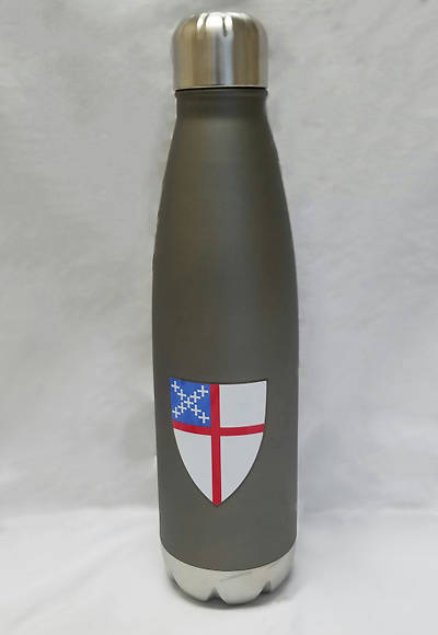 Stainless Steel Water Bottle with a Colored Episcopal Shield