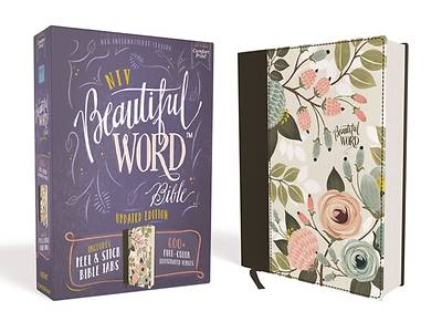 Picture of NIV Beautiful Word Bible, Updated Edition, Peel/Stick Bible Tabs, Cloth Over Board, Multi-Color Floral, Red Letter, Comfort Print