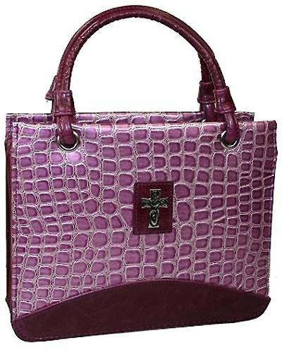 Purse Crock Embossed Medium Purple Bible Cover