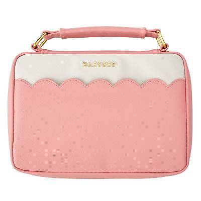 Picture of Bible Cover Large Lux-Leather Blessed Pink Scallop