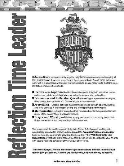 Picture of Vacation Bible School (VBS) 2020 Knights of North Castle Reflection Time Leader Download