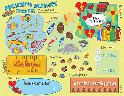Picture of FaithWeaver Friends Preschool Activity Stickers (Packkage of 5) Winter 2015-16