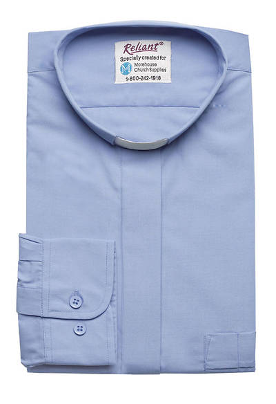 "Reliant Long Sleeve Clergy Shirt with Tab Collar Powder Blue - 16"" - 34"" - 35"""