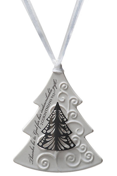 Christmas Tree Ceramic Ornament with Metal Accent