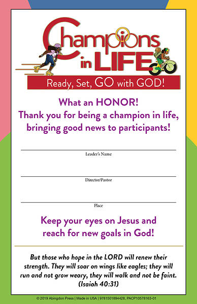 Picture of Vacation Bible School (VBS) 2020 Champions in Life Leader Certificates (Pkg of 12)