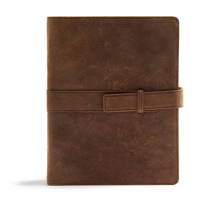 Picture of CSB Legacy Notetaking Bible, Tan Genuine Leather with Strap