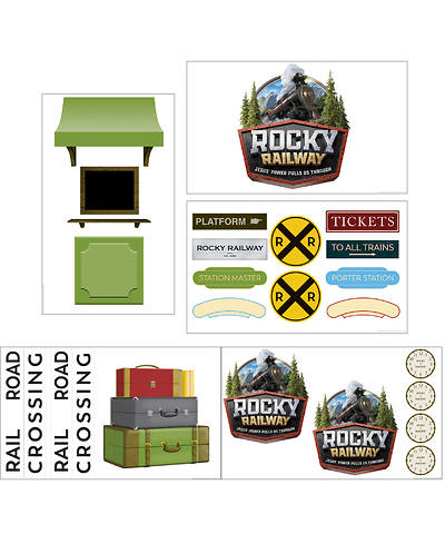 Picture of Vacation Bible School (VBS) 2020 Rocky Railway Giant Decorating Poster Pack: Depot (set of 5, incl logo) (3'x5')