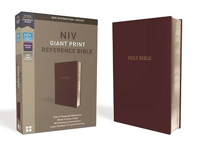 NIV, Reference Bible, Giant Print, Leather-Look, Burgundy, Red Letter Edition, Comfort Print