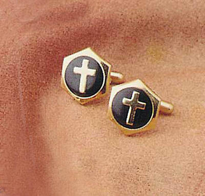 Cross Hexagonal Gold Cross w/black enamel fill Cuff Links