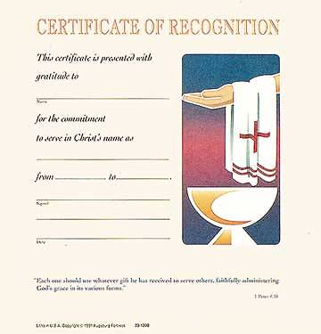Certificate of Recognition (Package of 12)