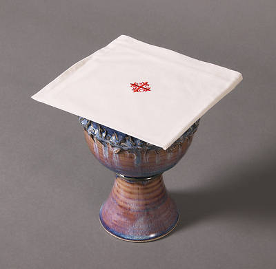 Picture of Cambric Linen Chalice Pall with Red Cross and Vine - Pack of 3