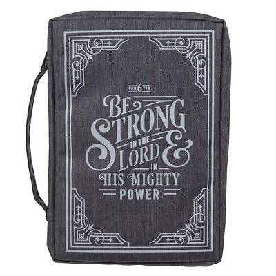 Picture of Bible Cover Canvas Large Gray Be Strong in the Lord Eph 6