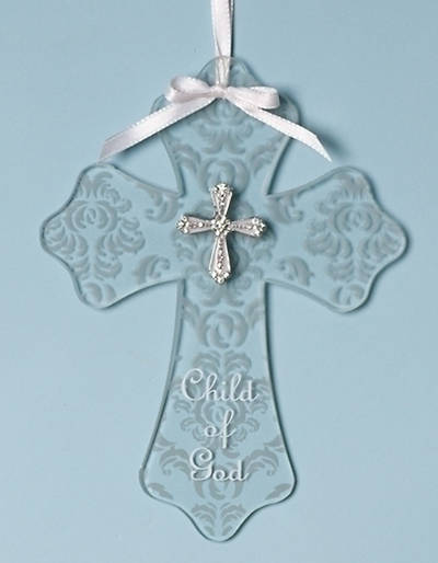Child of God Wall Cross Glass Damask Baptism 7