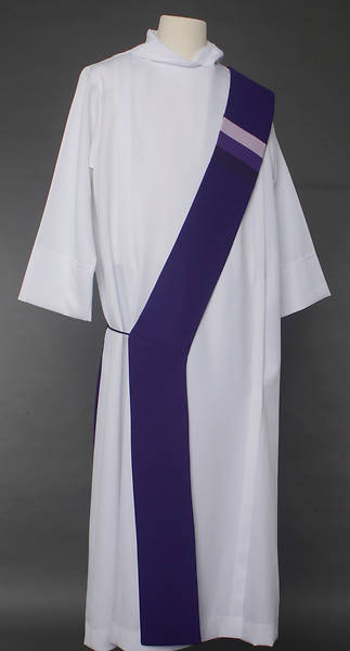 Triune Stripe Deacon Stole - Purple
