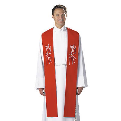 Picture of Red Descending Dove Clergy Confirmation Stole