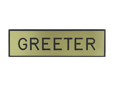Picture of Gold and Black Greeter Pin-On Badge