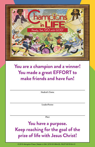 Picture of Vacation Bible School (VBS) 2020 Champions in Life Student Certificates (Pkg of 24)