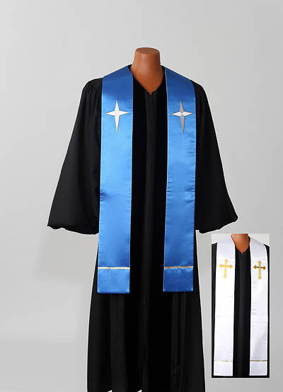 Reversible Blue/White Satin Stole