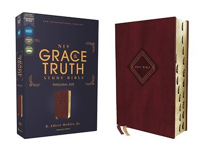 Picture of Niv, the Grace and Truth Study Bible, Personal Size, Leathersoft, Burgundy, Red Letter, Thumb Indexed, Comfort Print