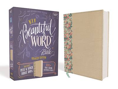 Picture of NIV, Beautiful Word Bible, Updated Edition, Peel/Stick Bible Tabs, Leathersoft Over Board, Gold/Floral, Red Letter, Comfort Print