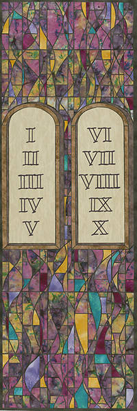 Symbols of Faith Series Stained Glass Ten Commandments Banner 2x6