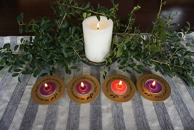 Picture of Gold Joy, Peace, Love, Hope Advent Tea Light Set