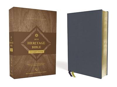 Picture of Niv, Heritage Bible, Passaggio Setting, Genuine Leather, Buffalo, Blue, Line Matched, Art Gilded Edges, Comfort Print