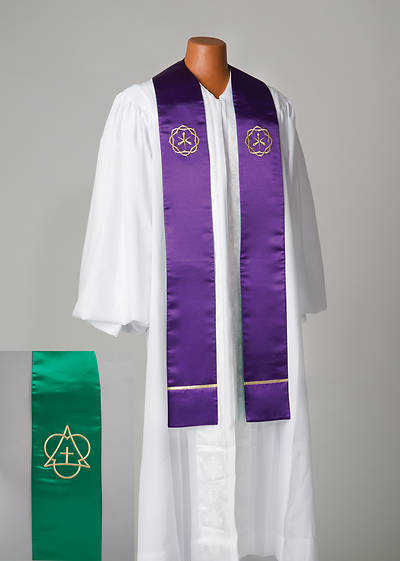 Reversible Purple/Green Satin Stole