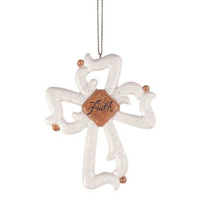 Picture of White Glitter Cross Ornament Faith Gold Center