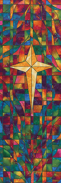 Symbols of Faith Series Stained Glass Star of Bethlehem Banner 2 X 6