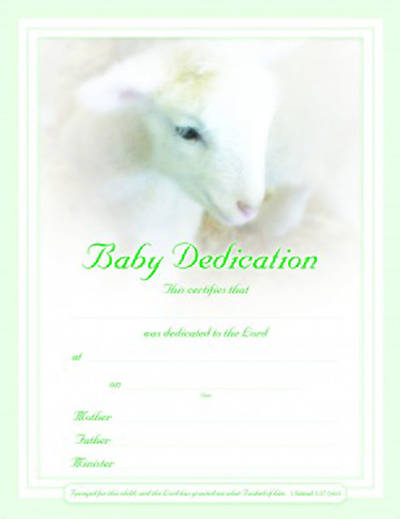 Picture of Certificate Baby Dedication Lamb Package of 6