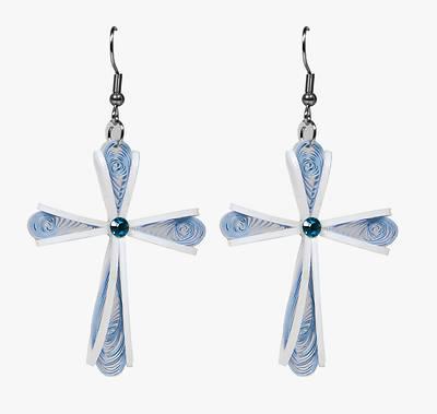 Picture of Handmade Ribbon Cross Earrings - Vietnam