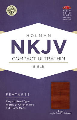 Picture of NKJV Compact Ultrathin Bible, Brown Cross Leathertouch, Indexed