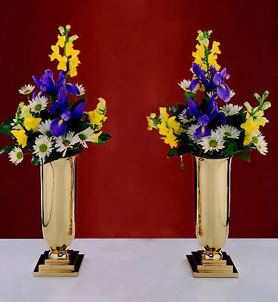 "Traditional Style Brass 11 1/4"" Vases (Pair)"