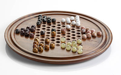 Wood Stern-Halma Checkers Board Game
