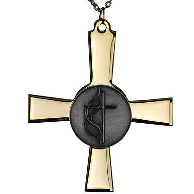 United Methodist Two-Tone Clergy Cross
