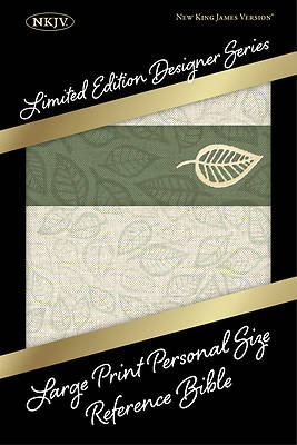 NKJV Large Print Personal Size Reference Bible, Designer Series, Linen Leaves, Leathertouch