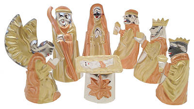 Picture of 7Pc Tin Nativity Set In Copper and Brass Colors