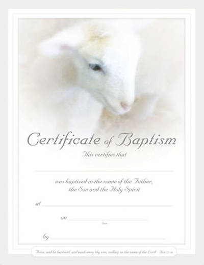 Picture of Certificate Baby Baptism Lamb Package of 6